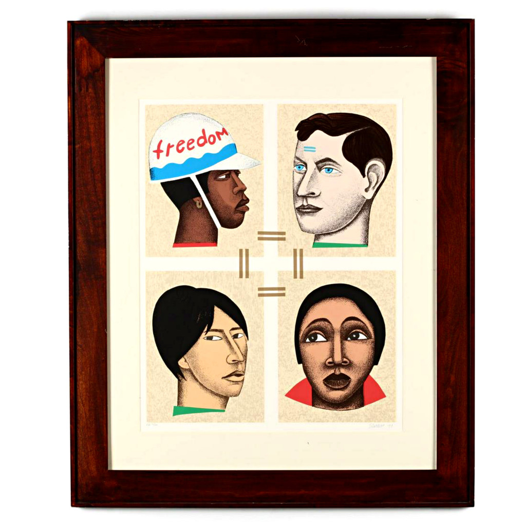 Elizabeth Catlett, Freedom or Slavery , 1998 Color lithograph