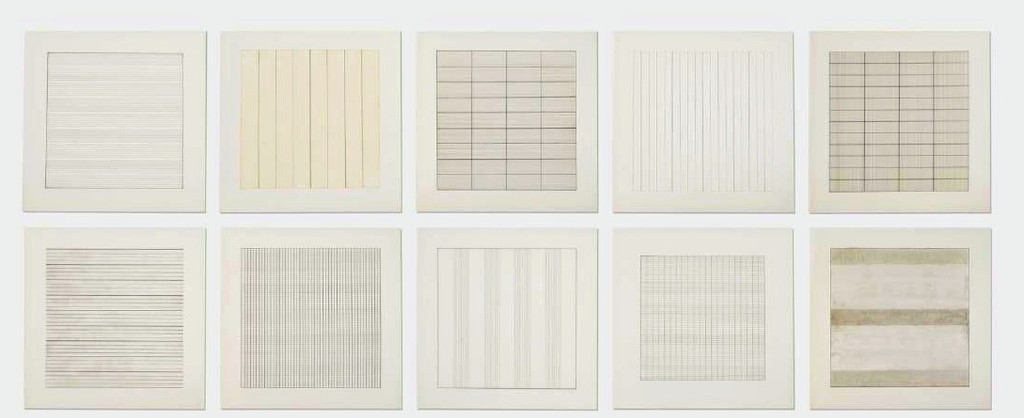 Agnes Martin, Paintings and Drawings 1974-1990 (Deluxe Edition) Suite of Ten (10) Limited Edition Lithographs (from the Stedelejk Museum) - BRAND NEW, unopened, mint condition in original publisher's shrink wrap, 1991