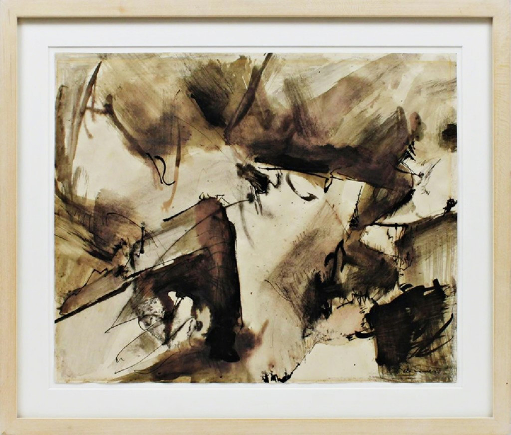 Mark di Suvero, Abstract Expressionist drawing with hand signed COA , ca. 1950