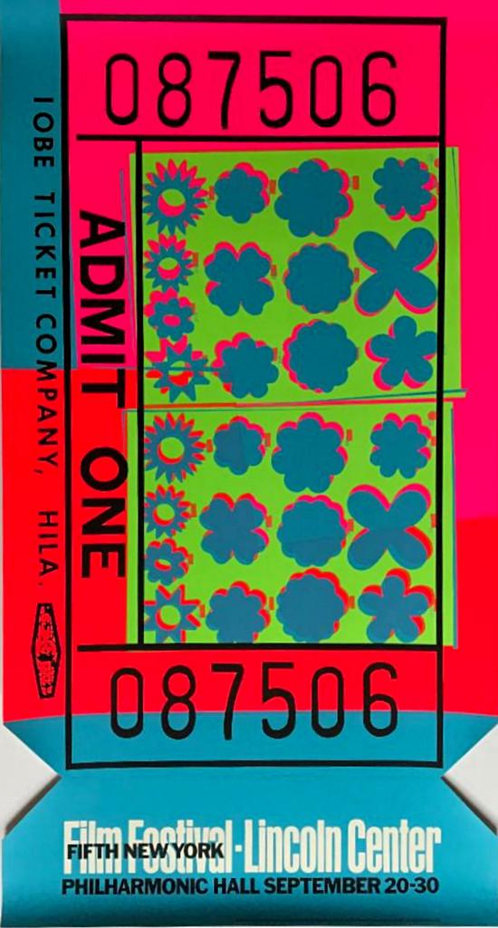 Andy Warhol,  Fifth New York/Film Festival Lincoln Center (Feldman & Schellmann, II.19), 1967