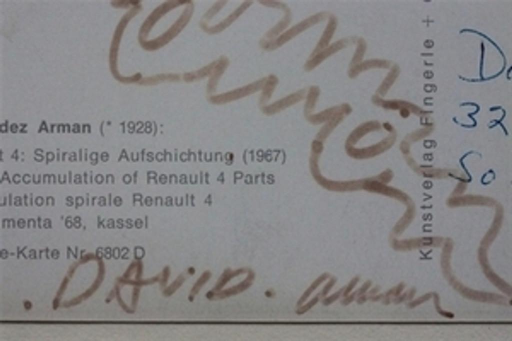 Arman Pierre Fernandez Drawing, Hand signed twice, dedicated, Framed, 1973