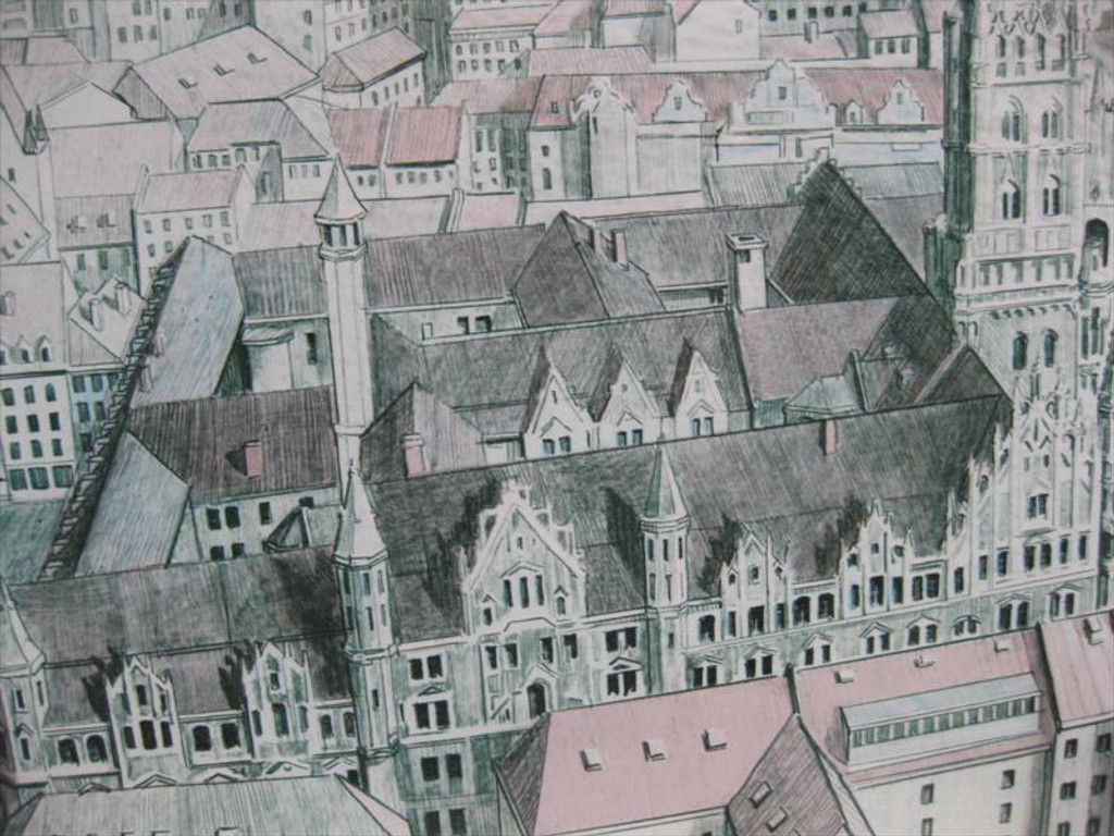 Richard Haas, City of Munich, Lithograph with Graphite Stencil, Signed, 1978 (Framed)