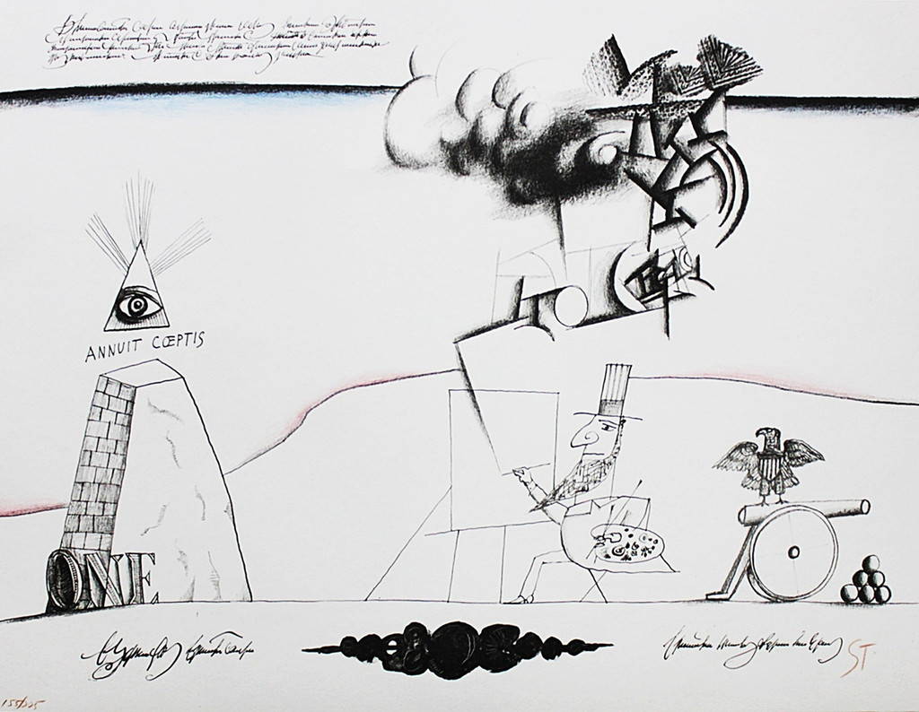 Saul Steinberg, Annuit Coeptis with Abraham Lincoln, Lithograph, 1966 (Signed, Numbered)