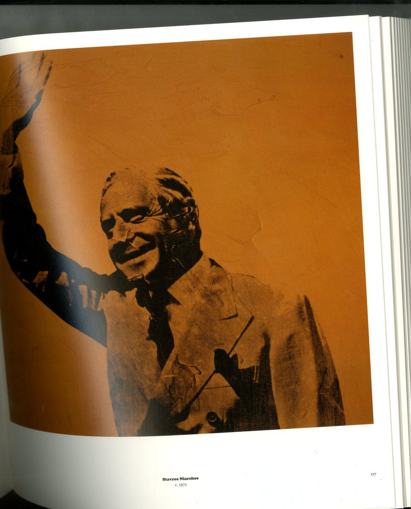 FOR REFERENCE ONLY - This is a photograph of the actual silkscreen of Stavros Niarchos that Warhol made from the acetate