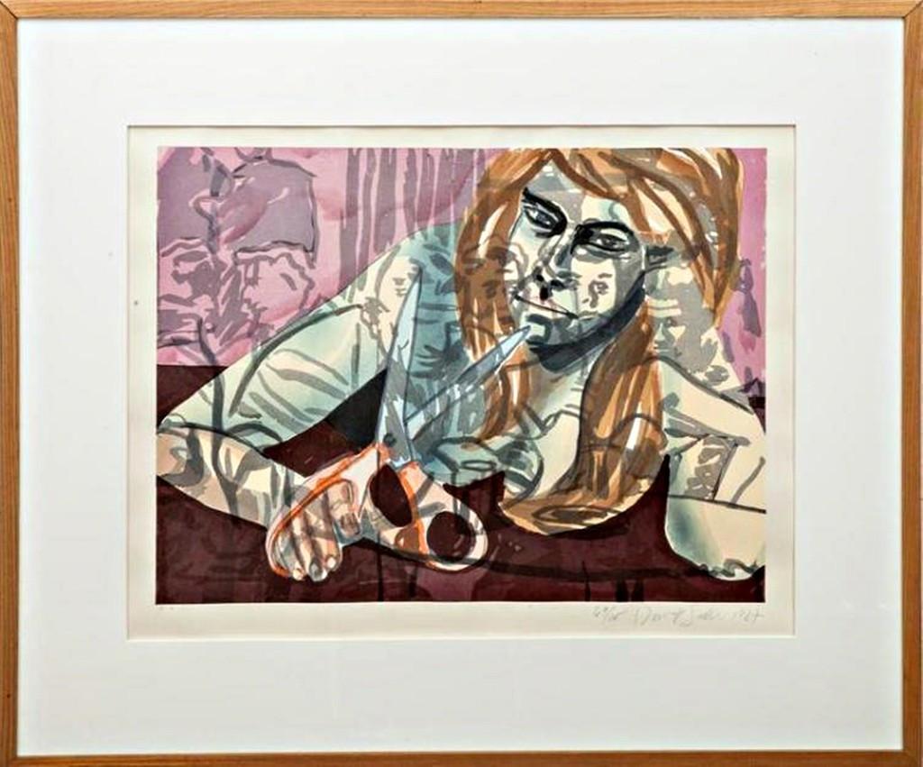 DAVID SALLE, Woodcut Portrait with Scissors and Nightclub, 1987