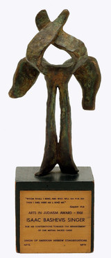 Nathaniel Kaz, Bronze Sculpture to Isaac Bashevis Singer for Arts in Judaism Award, 1966