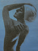 CAROLE A. FEUERMAN, Shower Profile (Blue) 2012, Mixed media: two color silkscreen with Diamond Dust on Canvas (Signed, Dated, Numbered)