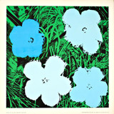 Andy Warhol,  Flowers (Blue), Silkscreen poster on linen canvas backing.