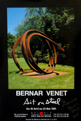 BERNAR VENET Sit on Steel (hand signed) 1991, Offset lithograph poster. hand signed. dated. dedicated.