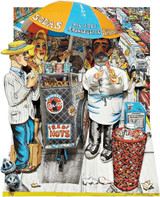 RED GROOMS Hot Dog Vendor 1994, 3-dimensional lithograph and linocut in colors with aluminum foil Chine collé, cut out, on Rives BFK paper, glued and mounted in a Plexiglas case, signed, dated `94'  from the edition of 75.