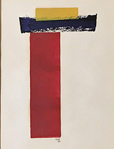 LYMAN KIPP Untitled painting on paper 1970, Color ink painting on paper using roller. Signed. Dated. Framed.
