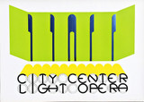 GERALD LAING City Center Light Opera 1968, Lime colored Screenprint on die-cut Mylar. Hand Signed. Dated. Numbered.