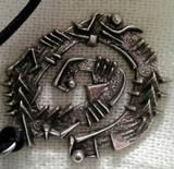 ARNALDO POMODORO Signed metal pendant (Brooch) ca. 1989, Sculpted metal brooch. Signed.