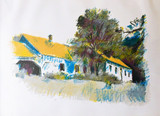 WOLF KAHN, House With A Painted Roof 1984, Color Silkscreen on Wove Paper. Pencil Signed and Dated. Framed.