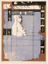 Joseph Cornell Hotel du Nord 1972, Silkscreen in five colors with varnish stencil additions printed on Buff Arches Paper. Signed and numbered. Framed.