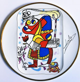 Salvador Dalí,  Joker 1967, Porcelain Plate. Artist Signature Fired into Plate.