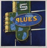 Robert Cottingham Blues 1989, Color aquatint on wove paper. Hand signed and numbered. Framed.