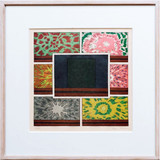Peter Halley Cell with Explosions II 1993, Line Engraving on Wahon Creme Paper. Hand Signed. Numbered. Framed.
