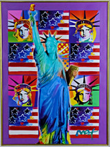 Peter Max, United We Stand: Four Statues of Liberty with Blue Statue of Liberty, 2001