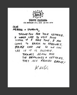 Keith Haring, Original handwritten letter, ca. 1987