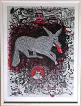 Roy de Forest, Untitled (Dogs), 1981 Color lithograph with deckled edges.