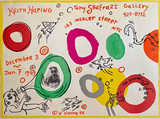 Keith Haring, Original Radiant Baby Drawing with ink inscription on limited edition historic Shafrazi Gallery offset lithograph exhibition poster, 1988