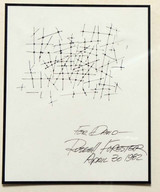 California Architect and Artist Russell Forester (1920-2002), Original Drawing, Uniquely signed & dedicated to art professor Dr. David Luisi, 1982, Framed