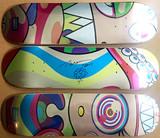 Takashi Murakami, Original hand signed (Unique) Flower Drawing on skateboard, Set of three (3) skate decks, 2017