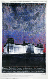Christo, Verhullter Reichstag, Projekt fur Berlin, The Wrapped Reichstag at Night (Hand Signed), 1993