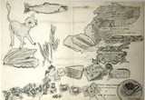 Larry Rivers, Untitled French Menu, Cafe de Colombie, Champs-Elysees, Paris (double-sided drawing), ca. 1969