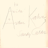 Alexander Calder, Perls Galleries Catalogue Hand Signed and Inscribed by Calder to Anita and Arthur Kahn, 1974