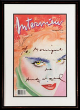 Andy Warhol, Interview Magazine Cover signed and inscribed to Warhol film star Monique Van Vooren (from the Estate of Monique Van Vooren)
