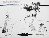 Saul Steinberg, Annuit Coeptis with Abraham Lincoln, Lithograph, 1966