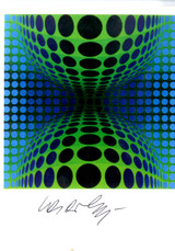 """VICTOR VASARELY, """"Ond"""",  Rare Hand Signed Card"""