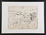 Red Grooms, Untitled Ink Drawing (Provincetown) with personal inscription, 1966