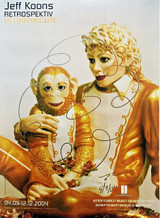 Jeff Koons, Original Flower Drawing on Michael Jackson & Bubbles Lt. Ed. Poster for Norwegian Museum (Astrup Fearnley Museet), 2004