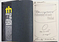 ANDY WARHOL, Campbell's Tomato Soup Drawing (inscribed and hand signed), Unique Campbell's soup drawing in black marker held in book, hand signed and dedicated