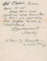 """ALEXANDER CALDER 2-Page handwritten, signed letter to Chantal: """"Nous arrivons a Paris...nous irons presque aussitot en Italie..."""" 1956, Ink on paper: 2 page handwritten and hand signed letter"""
