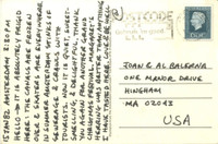 "CARL ANDRE Letter to his sister: ..""In summer Amsterdam stinks of sewerage & crawls with tourists. Now it is quiet, sweet-smelling & delightful.."" 1982, Handwritten signed letter on postmarked postcard from Amsterdam"