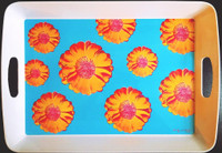 ANDY WARHOL Prototype Melamine Tray featuring Andy Warhol's Iconic Tacoma Flower Design from the estate of a Warhol Foundation Executive 2005, Melamine Tray. Plate signed with labels and markings on the verso.
