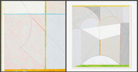 James Rosati Untitled Geometric Abstraction 1982, Two-sided Acrylic and Colored Pencil on Paper drawing. Hand Signed. Dated. Unframed.