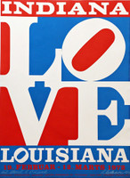 Robert Indiana The American Love (Hand Signed and Inscribed to Richard Lugar, Mayor of Indianapolis who later became a distinguished US Senator) 1972, Silkscreen Poster. Hand Signed. Dated. Inscribed. Unframed.