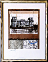 Christo Christo and Jeanne-Claude Javacheff Christo Wrapped Reichstag (Project for Berlin) 1994, Limited Edition Offset lithograph collage with raised silver thermal paper. Hand signed in crayon. Framed.