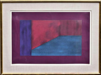 Sonia Gechtoff Untitled 1981, Acrylic and Pencil Painting on Paper. Hand Signed. Dated. Framed.
