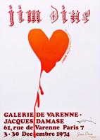Jim Dine, Red Design for Satin Heart (Hand Signed), 1974