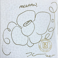 Jeff Koons, Original (Unique) hand signed flower drawing AND Limited Edition porcelain plate inside: Banality Series (Service Plate), Michael Jackson and Bubbles), 2014