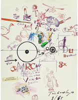 Jean Tinguely, Collage Drawing /Collage Dessin,  Silkscreen, from To and From Rrose Sélavy (aka Marcel Duchamp),  1965