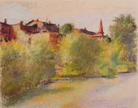 Wolf Kahn, Brattleboro Seen as a Flugstadt (European River Town), 1980