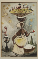 Adolf DEHN Haitian Scene #7, Watercolor Gouache Painting, framed with AAA Galleries Label, 1941