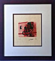 Henry Moore, Black Figure on Pink Background (Cramer, 96), 1966